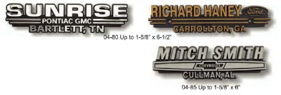 Auto Nameplates Stock Designs
