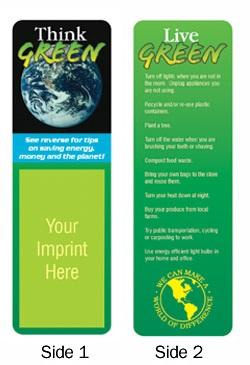 Think Green Custom Bookmarks