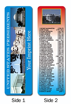 United States PresidentsPersonalized Bookmark