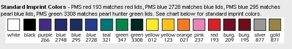 Standard Imprint Colors for 2020 Appointment Colors
