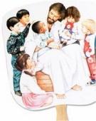 Christ with Children Handheld Fan