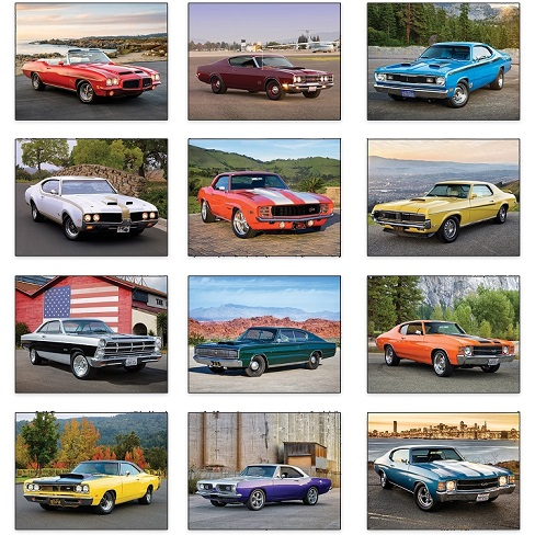 Muscle Cars 2021 Calendar Monthly Scenes