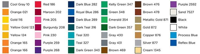 Auto Tumbler Imprint Color Chart