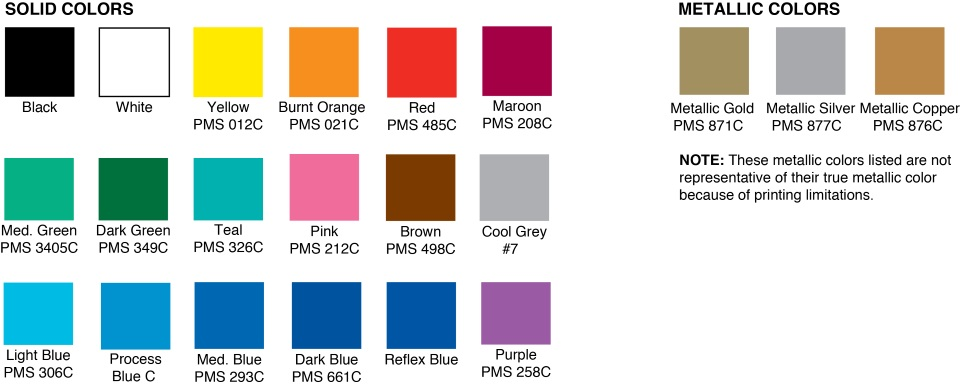 Standard Imprint Colors for Pocket Screwdrivers